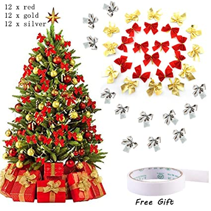 yoyowilo 36pcs christmas decoration ribbon bows christmas tree decoration red gold silver