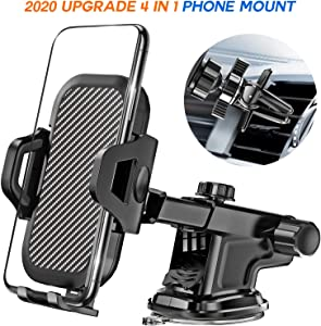 LeYi Car Phone Mount, Air Vent Dashboard Windshield Car Phone Holder with Long Arm Strong Suction Cup, Fit for iPhone SE 11 Pro X XS Max XR 8 7 6 Plus Samsung Galaxy S20 S10 Note10 Moto LG All Phones