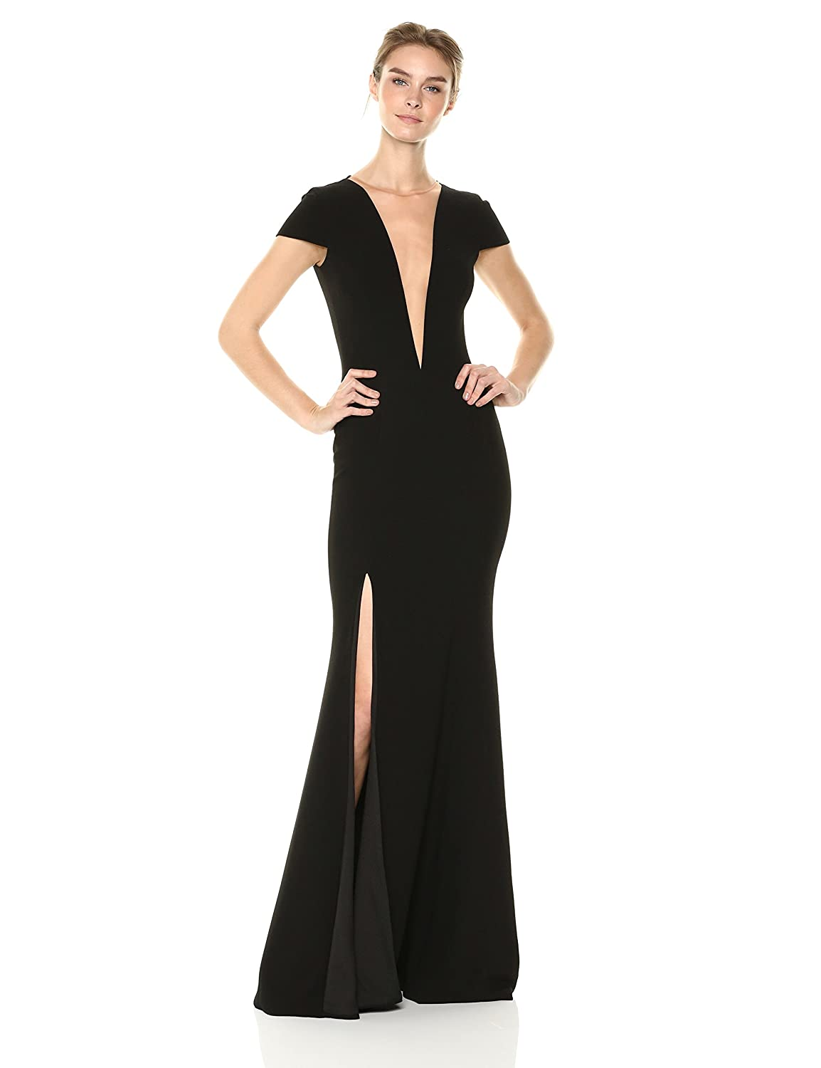 c58e48f867ed Dress the Population Women's Leah Plunging Illusion Cap Sleeve Crepe Gown  with Slit Dress at Amazon Women's Clothing store: