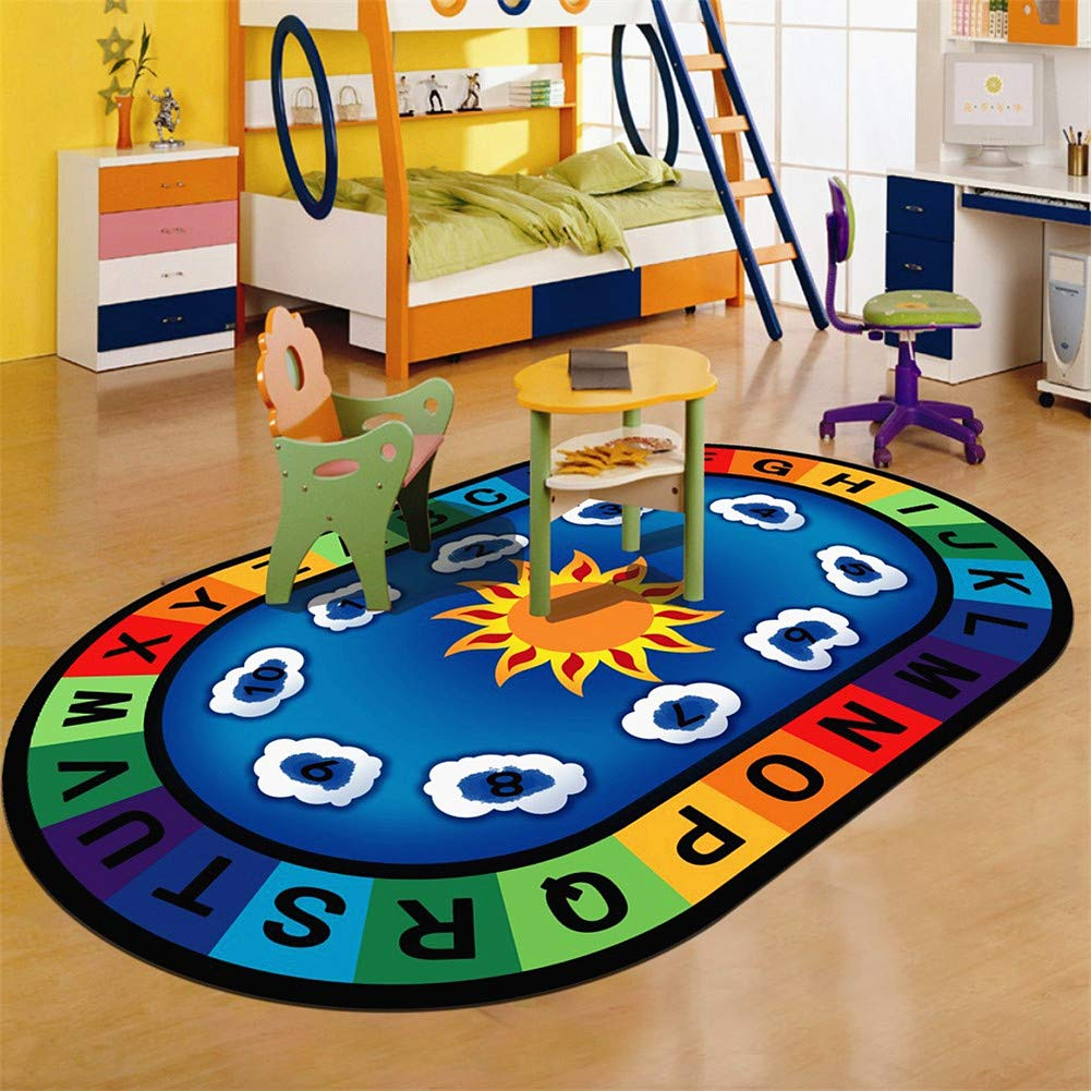 LISIBOOO Cartoon Anti-Skid Kids Area Rugs,ABC with Numbers,Oval Child Large Carpet,for Boys Girls Babies Playroom Bedroom Study Room Nursery Living Room Bathroom (4'7''x7'6'', Sun-Rainbow)