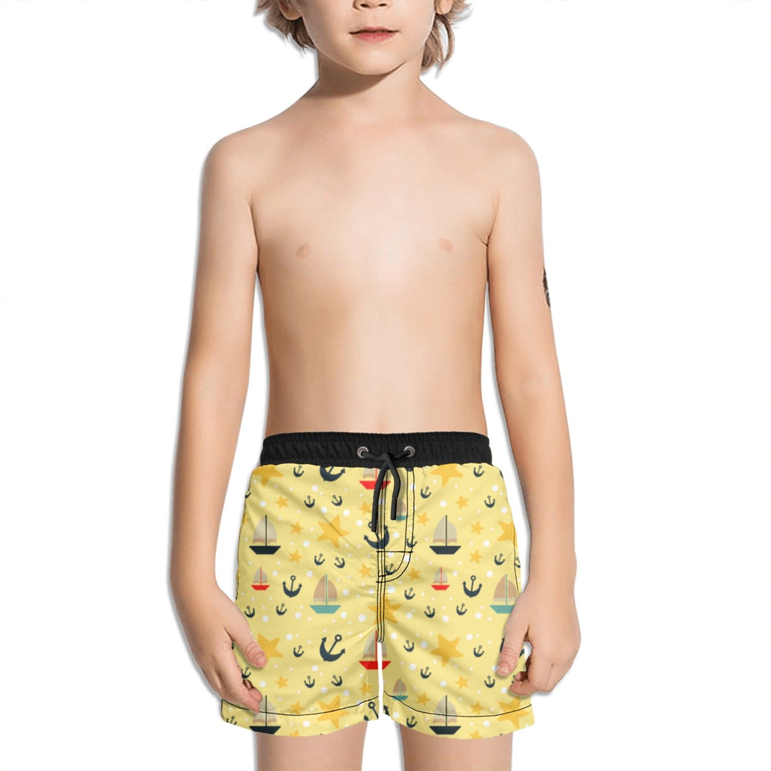 Juliuse Marthar Anchor and Sailboat Fashion Swimming Trunks Short Quick Dry Summer Short for Children