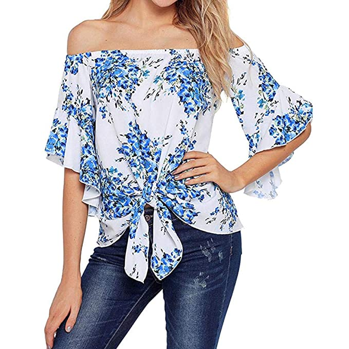 Blusa de Mujer Fuera del Hombro,3/4 Bell Print Sleeve Front