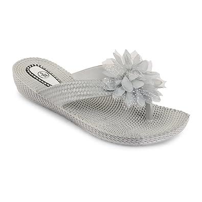 Womens Ladies Girls Flower Toe Post Sandals Summer Beach Flip Flops Shoes  Size, Silver UK