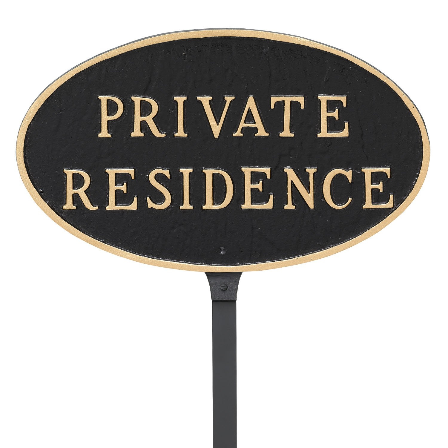 Montague Metal Products 6 x 10-Inch Oval Private Residence Plaque with 23-Inch Lawn Stake, Black/Gold by Montague Metal Products
