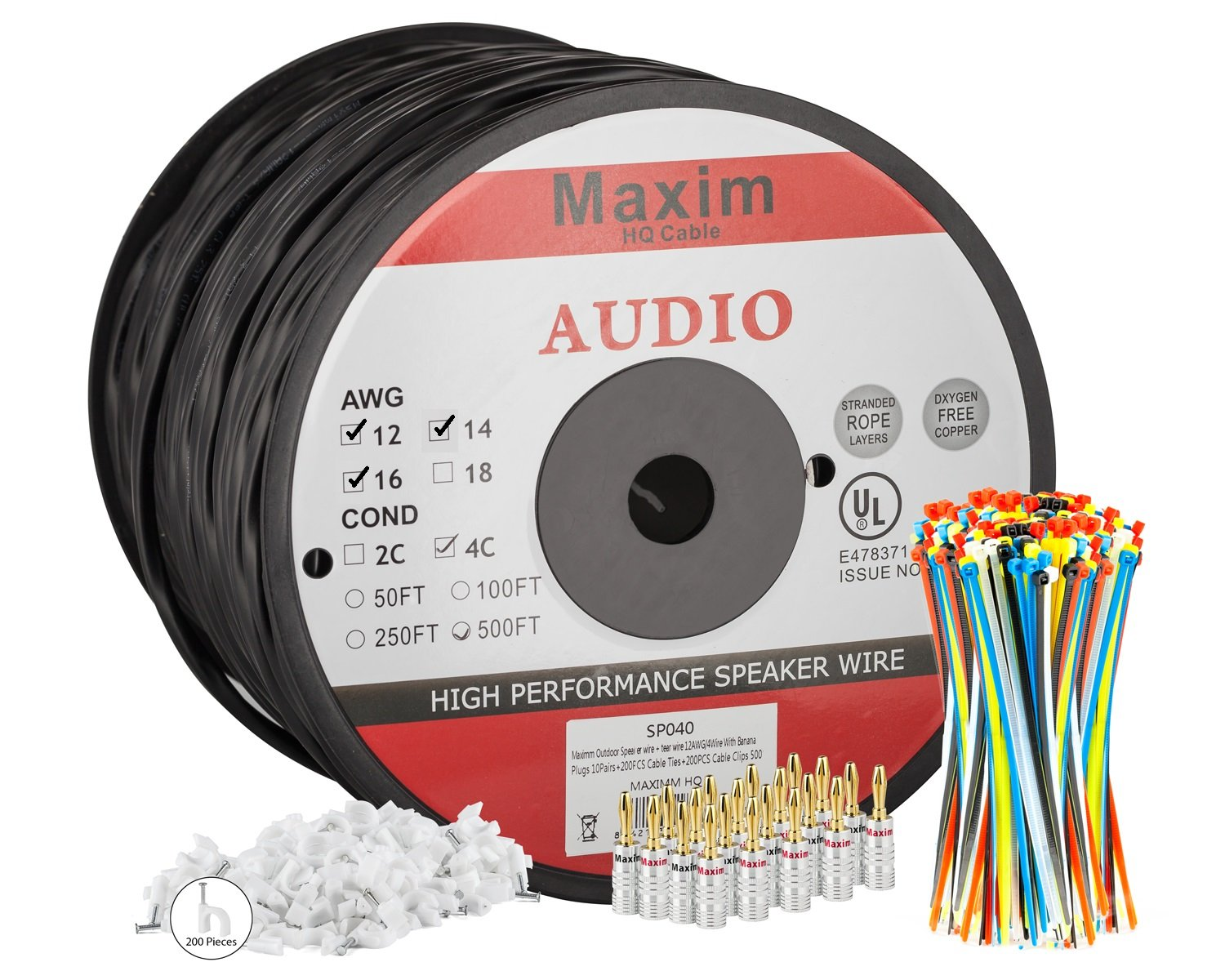 Maximm Outdoor Speaker Wire 500 Feet 12awg Cl3 Rated Residential Wiring Gage 4 Conductor Black Pure Copper Banana Plugs Cable Clips And Ties Included