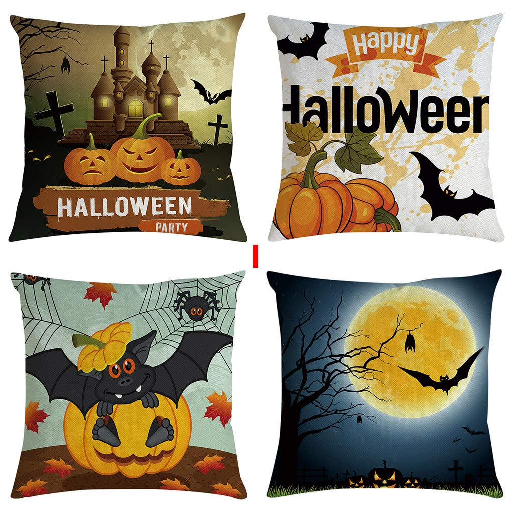 YGbuy 4Pcs Funda De Almohada De Halloween Sofá Almohada 45 ...