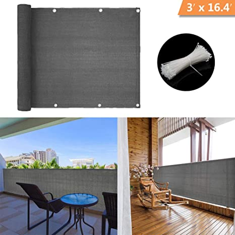 Hqs Brise Vue Voiles D Ombrage 500 X 90cm Abriter Du Vent La Pluie Le Soleil Pour Balcon Terrasse Avec Oeillets Gris