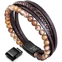 murtoo Homme Cuir Véritable Bracelet et Acier Inoxydable Bracelet Multi Tissé Réglable Noir ou Marron Cuir Bracelet pour Les Hommes