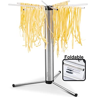 Gourmia GPD9355 Pasta Drying Rack – Eight Detachable Rotating Arms, Collapsible and Foldable - Includes Noodle and Spaghetti Transporting Wand, Anti Slip Silicone