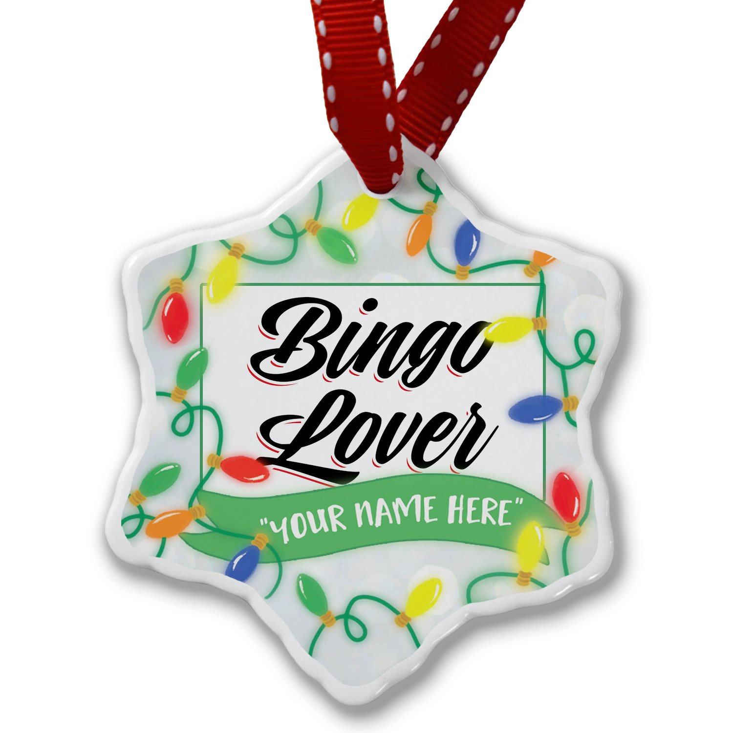 Personalized Name Christmas Ornament, Vintage Lettering Bingo Lover NEONBLOND