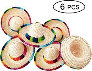 Topgalaxy.Z 6 Pack Natural Straw Mini Sombrero/Mini Mexican Party Hat, Tabletop Party Supplies, Cinco de Mayo Mexican Fiesta Hat, Fiesta Table Decorations, Mini Sombrero Top Hat for Dogs, Cats