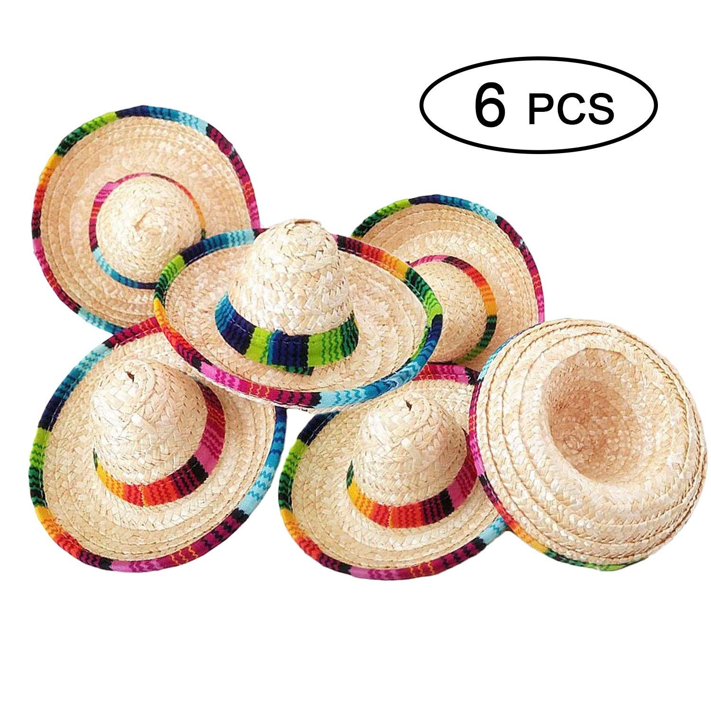 Amazon.com  Topgalaxy.Z 6 Pack Natural Straw Mini Sombrero Mini Mexican  Party Hat d2f730174ab6