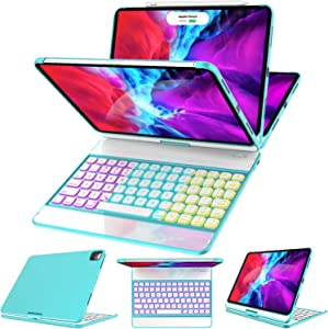 iPad Pro 11 Case with Keyboard 2020/2018 (1st/ 2nd Generation) - 360 Rotatable - Wireless/BT - Backlit 17 Color - Auto Sleep Wake - Support Apple Pencil 2nd Gen Charging, Tiffany
