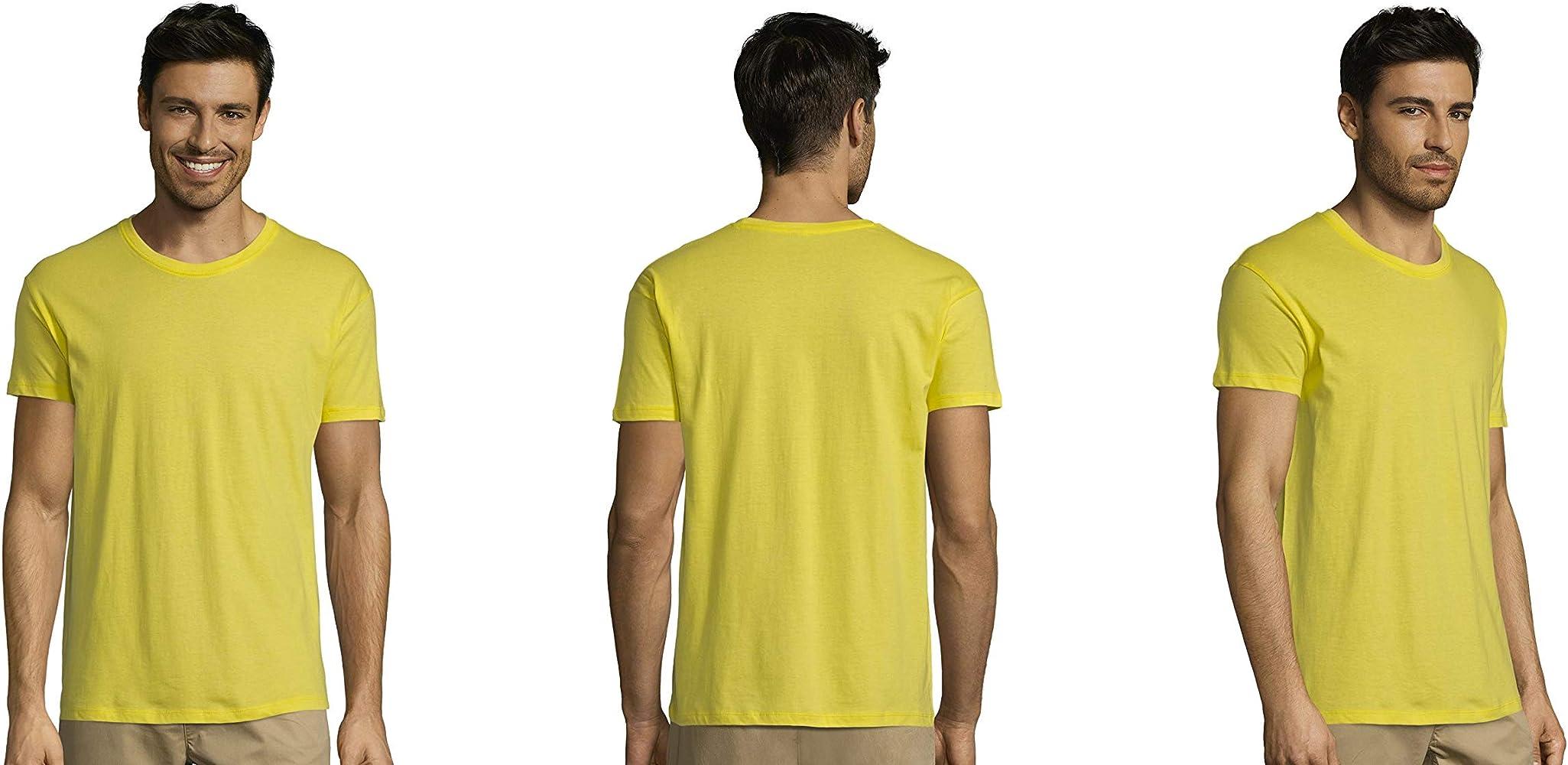 Pack DE 3-5-10-25 -50 o 100 Camisetas Amarillas 100% Algodon ...