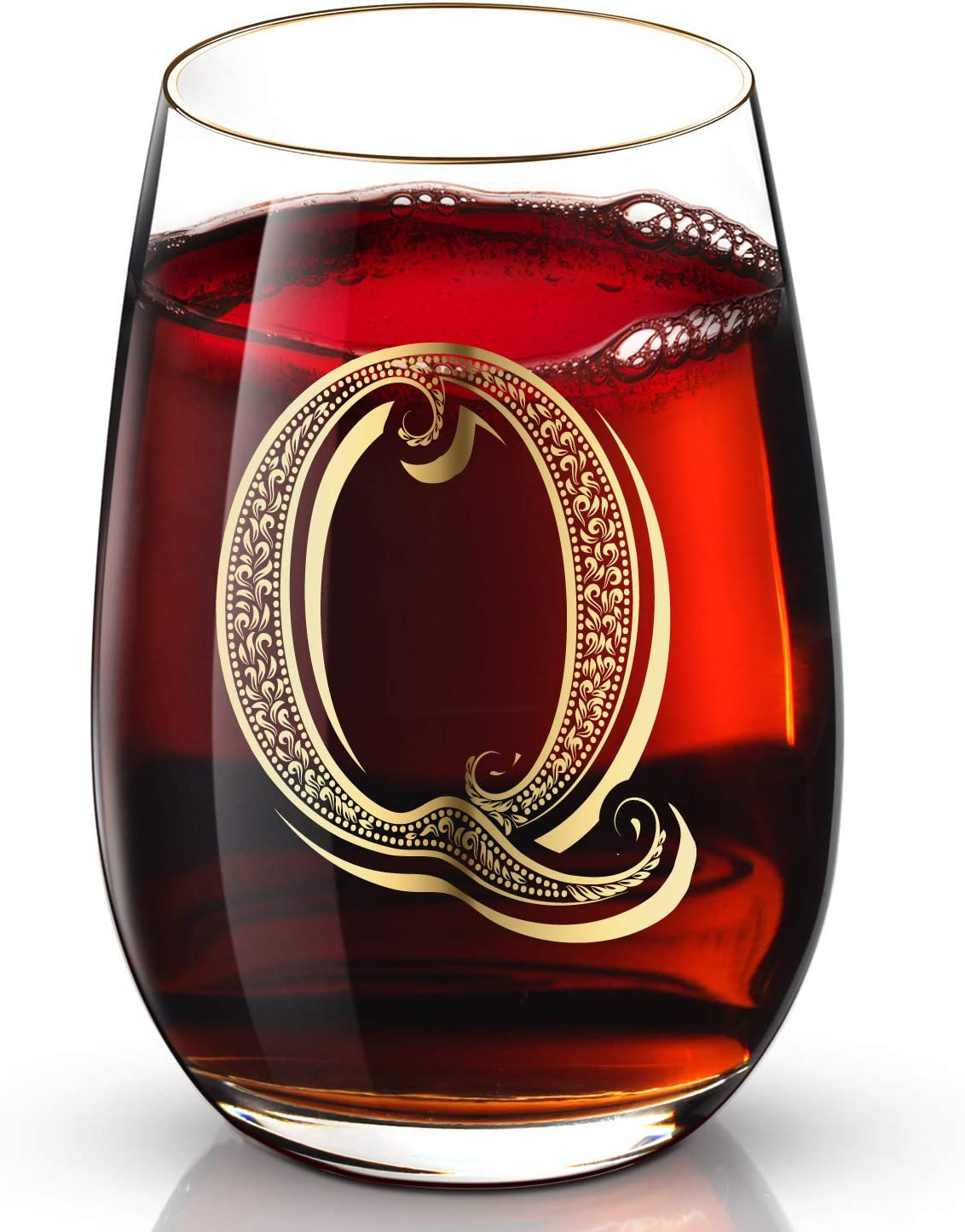 Q Customized 24K Gold Hand Crafted Luxury Drinking and Wine Glass for Wedding,Anniversary,Birthday and any Noteworthy Occasions,Products Also Come With Your Choices of Special Meaningful Initials