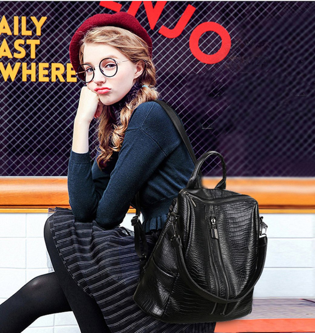 Fashion Backpack for Women Rucksack PU Leather Black Shoulder Bags Purses for Ladies Tote Bags by Goldsuntop (Image #5)