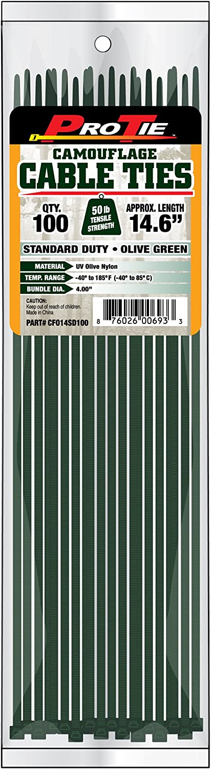 Pro Tie CFO14SD100 14-Inch Olive Green Nylon Standard Duty Cable Ties, 100-Pack