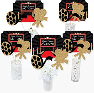 product image for Big Dot of Happiness Red Carpet Hollywood - Movie Night Party Centerpiece Sticks - Table Toppers - Set of 15