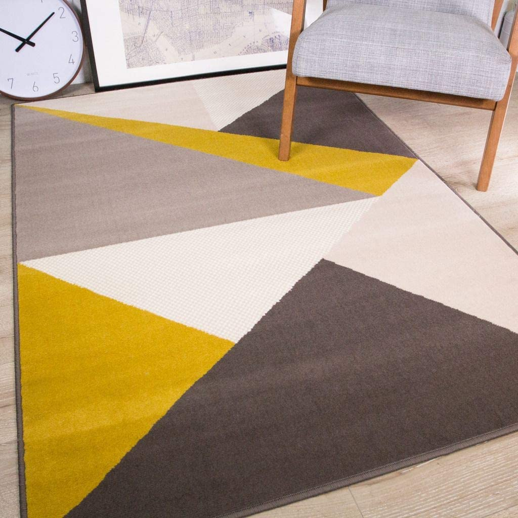 Milan Modern Rich Striking Abstract Design Ochre Yellow Mustard Gold Graphite Grey Rug Amazon Co Uk Kitchen Home