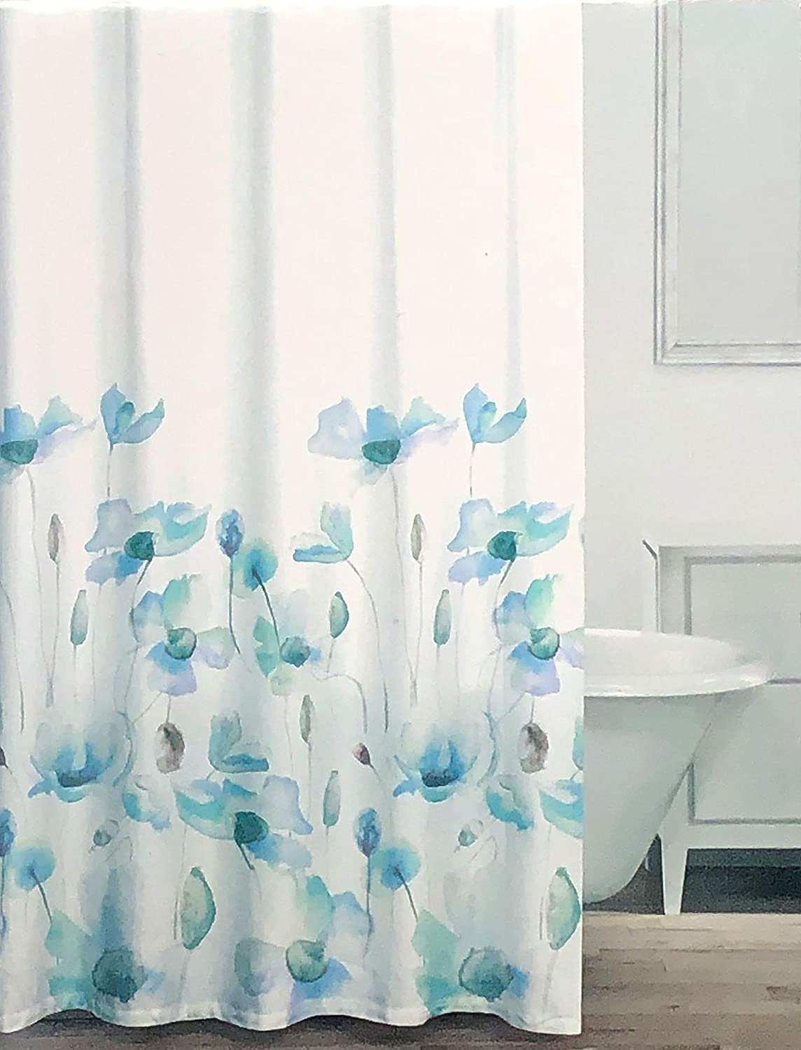 Caro Fabric Shower Curtain Watercolor Bloom Floral Pattern in Shades of Blue Green Taupe on White - Poppy, Waterfall