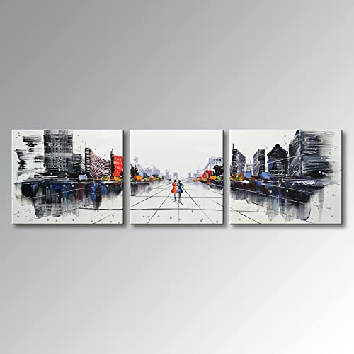 EVERFUN ART Hand Painted Palette Knife Oil Paintings Modern Wall Art City Home Decoration Abstract Cityscape Building Artwork Framed Ready to Hang 84 W x 24 H 24 x24 x1pc, 24 x30 x2pcs