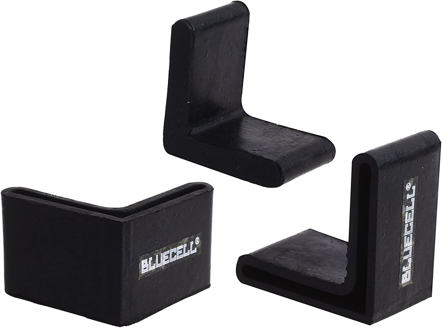 BLUECELL 10PCS Black Color L Shape Rubber Covers Furniture Angle Iron Foot Pads,38x38mm