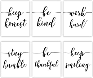 Inspirational Quotes and Sayings Art Prints Motivational Canvas painting Wall Art for Office Girl Bedroom Home Decor ,Work Hard,Be Kind,Stay Humble,Keep Smiling ,Be Thankful,Keep honest Art Print ,6 pcs, No Frame