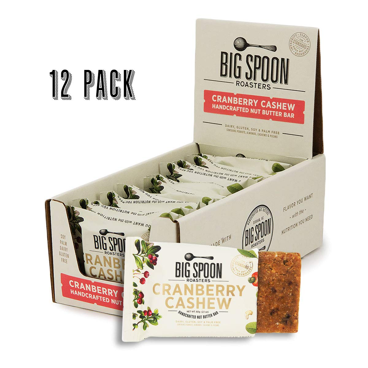 Big Spoon Roasters Cranberry Cashew Nut Butter Bars - High Protein Bars with Non-GMO Pea Protein - Energy Bars with Peanut & Cashew Nut Butters - Gluten & Soy Free, Lean Protein Bars - 12-Count