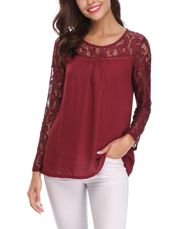 Abollria Women's Lace Top Sheer Chiffon Long Sleeve Casual Loose Blouse Shirt