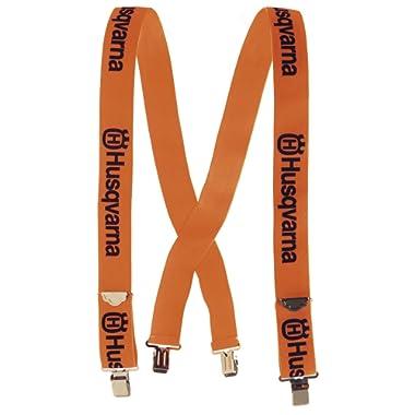 Genuine Husqvarna 505618500 Orange Suspenders with Metal Clips