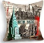 ITFRO Retro Vintage New York City Cotton Linen Square Decorative Retro