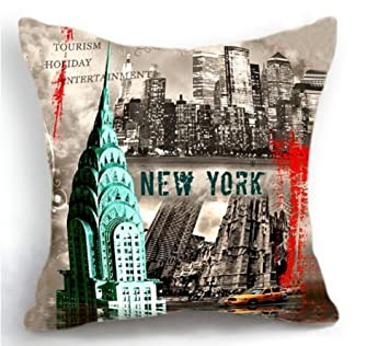 ITFRO Retro Vintage New York City Cotton Linen Square Decorative Retro Throw Pillow Case Vintage Cushion Cover 18