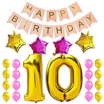 KUNGYO Sweet 10Th Birthday Party Decorations Kit Pink Happy Brithday BannerNumber 10 Golden