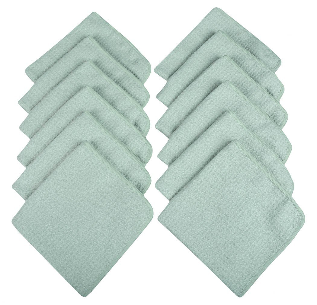 Sinland Microfiber Waffle Weave Kitchen Dish Cloths Drying Cleaning Cloth 13inchx13inch 12 Pack Light Jade
