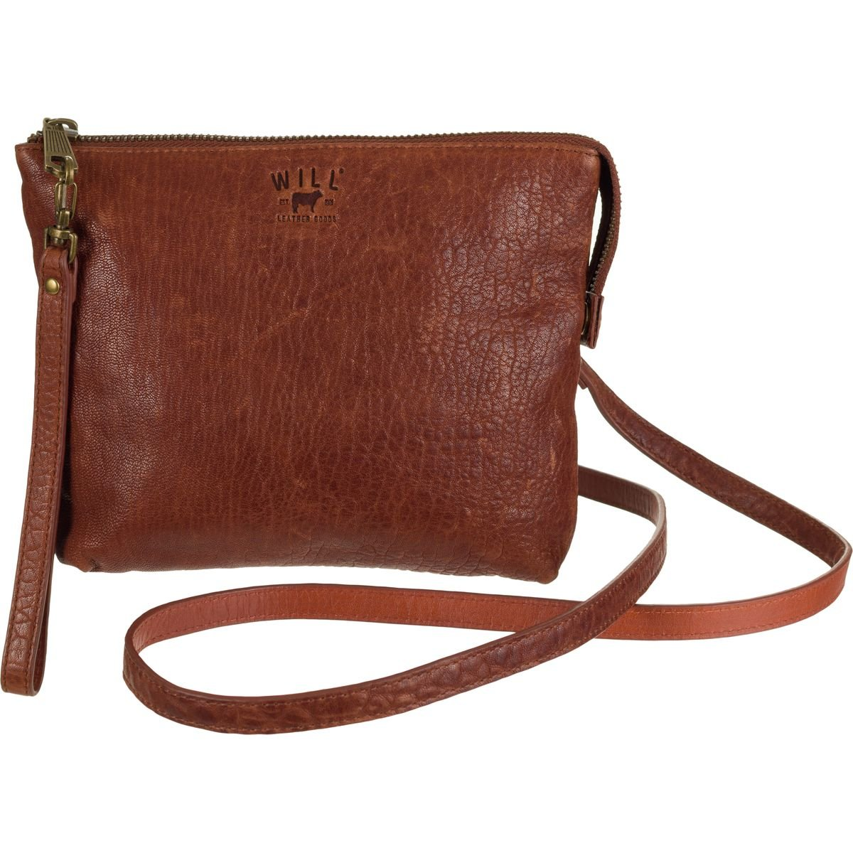 Will Leather Goods Opal Zip Pouch Crossbody Purse Cognac, One Size