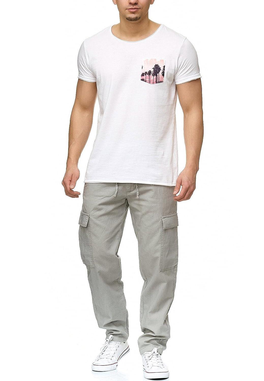 Indicode Homme Pantalons Casual Lin Pantalon Cargo en Tissu Confortable Leonardo