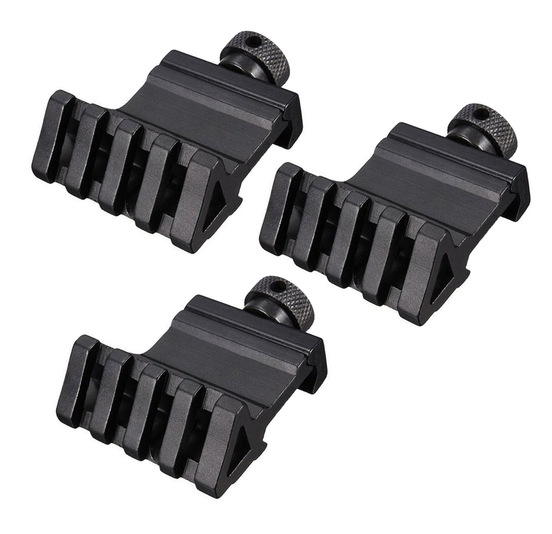 HooGou 3 Pcs 45 Degree 20mm 4 Slots Offset Angle Rail Mount Picatinny Weaver Style for Mounting Flashlight Sight Black 3 Pack