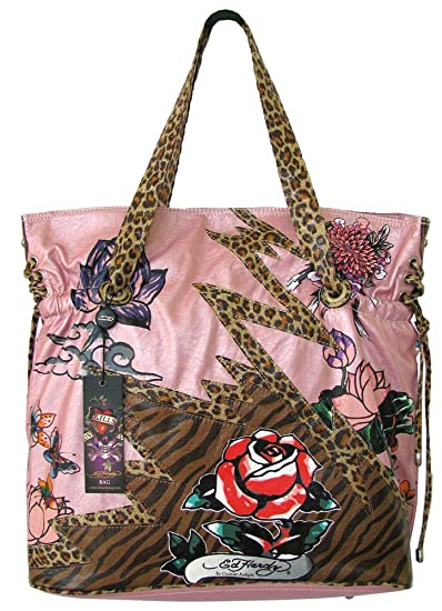 Amazon.com   Ed Hardy Baby Diaper Bag Pink Lace up Poppy Design w  Animal  Print   Diaper Tote Bags   Baby 63818e1efeefe