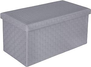 """B FSOBEIIALEO Folding Storage Ottoman, Faux Leather Footrest Seat Stool Long Bench, Grey 30""""x15""""x15"""""""