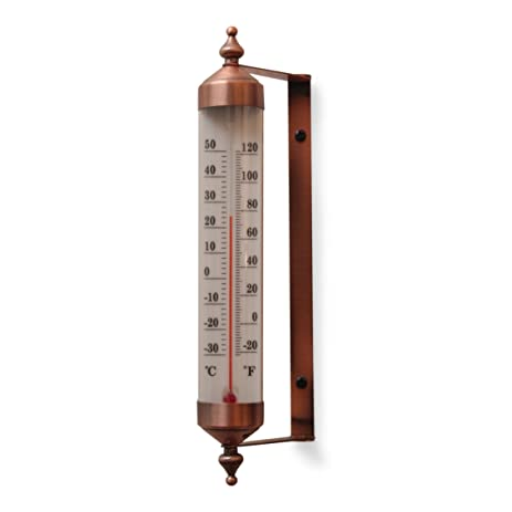 Elegant Antique Copper Finish Adjustable Angle 10 Inch Garden Thermometer