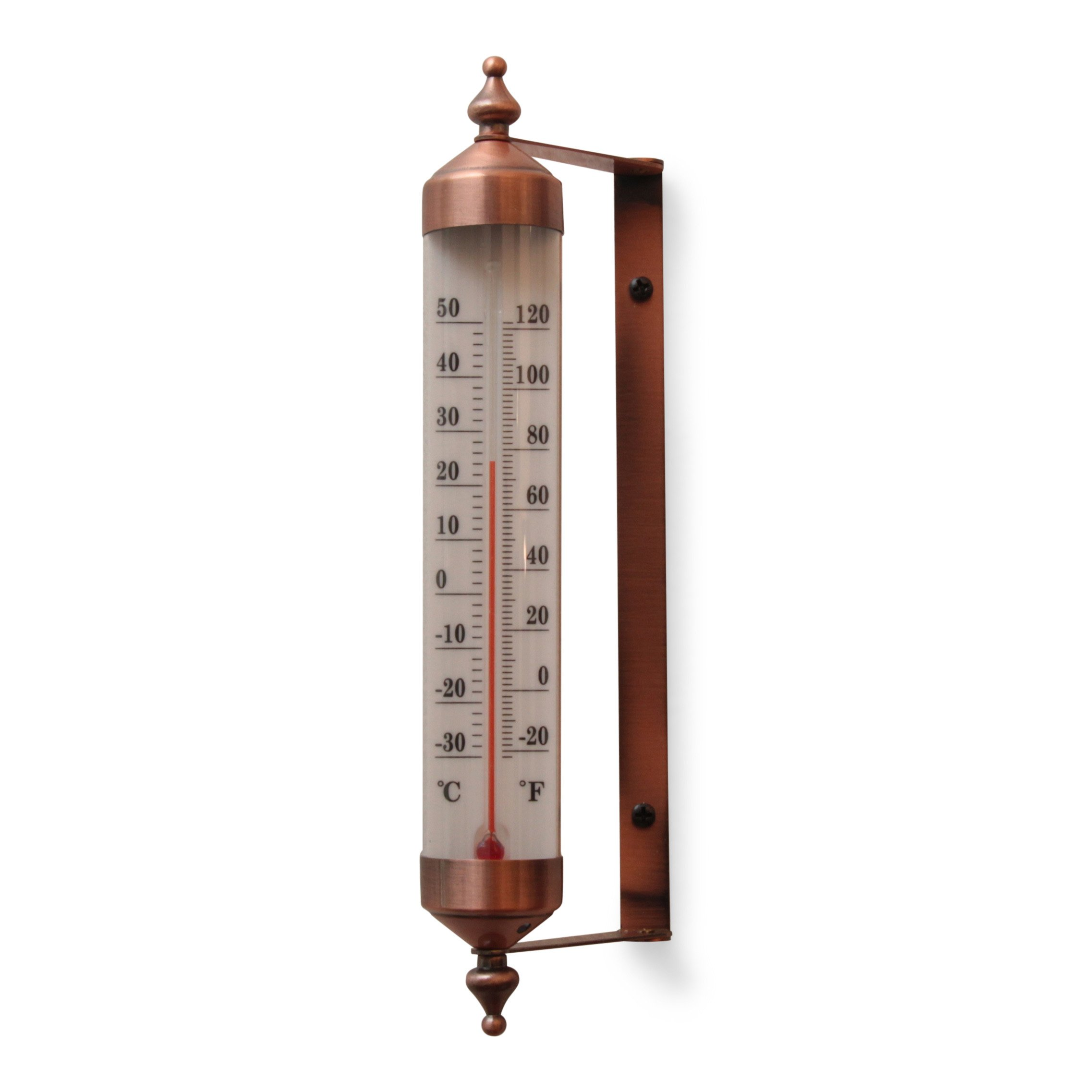 Antique Copper Finish Adjustable Angle 10 Inch Garden Thermometer