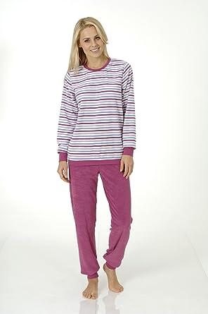 watch 2b35f 935b2 Damen Frottee Pyjama lang mit Bündchen, Übergrössen, Schlafanzug 201 93 862