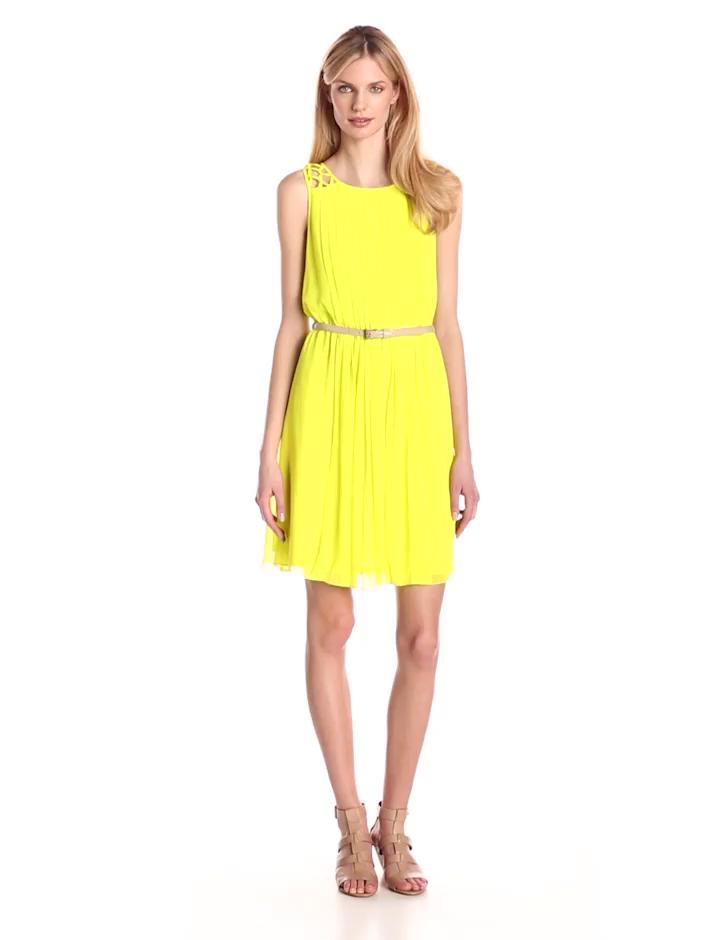 Jessica Simpson Women's Chiffon Pleated Dress with Lattice Shoulder Detail, Citronelle, 2
