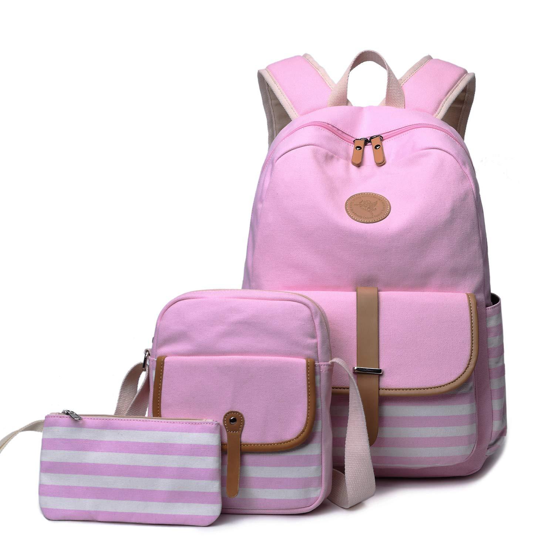 FLYMEI Canvas Backpack for Teen Girls, Lightweight Back Pack with Shoulder Bag Cute Daypack, Travel Bag for Teenager, Laptop Bag, Pink Fashion Bag