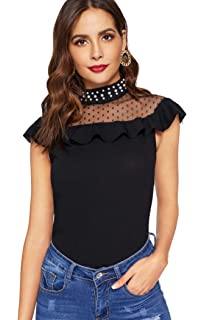 89e76dc980a6 SheIn Women's Casual Ruffle Sleeve Contrast Mesh Summer Top Blouse Shirts