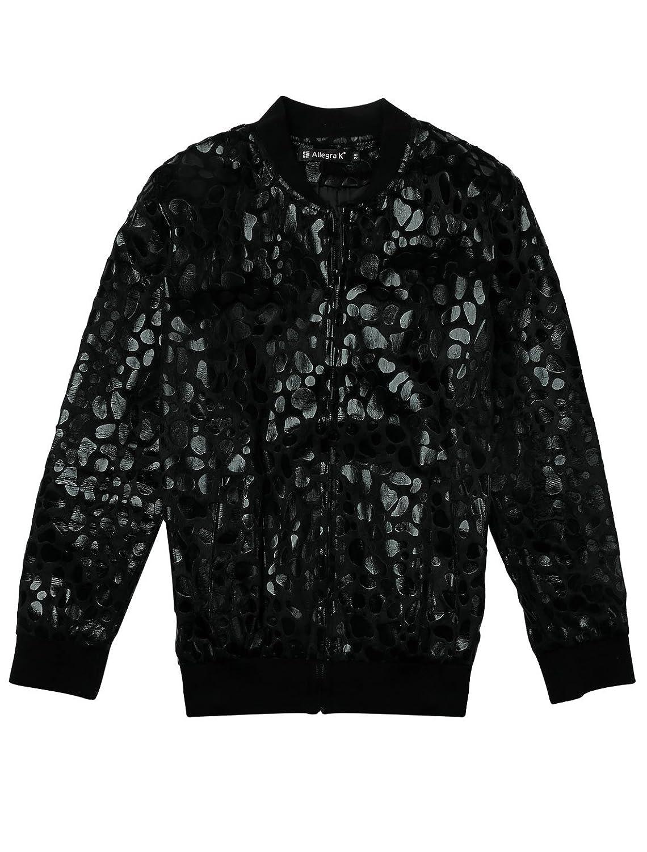 76f40edc221b Allegra K Men Stand Collar Leopard Zip Up Plush Jacket at Amazon Men's  Clothing store: