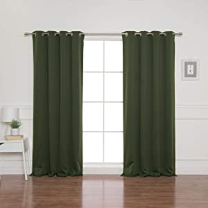 Best Home Fashion Blackout Curtain Panels - Premium Thermal Insulated Window Treatment Blackout Drapes for Bedroom - Antique Bronze Grommet Top – Moss - 52