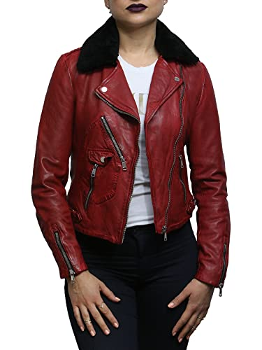 Brandslock Chaqueta motera de cuero roja de mujer con cuello desmontable de piel de oveja real