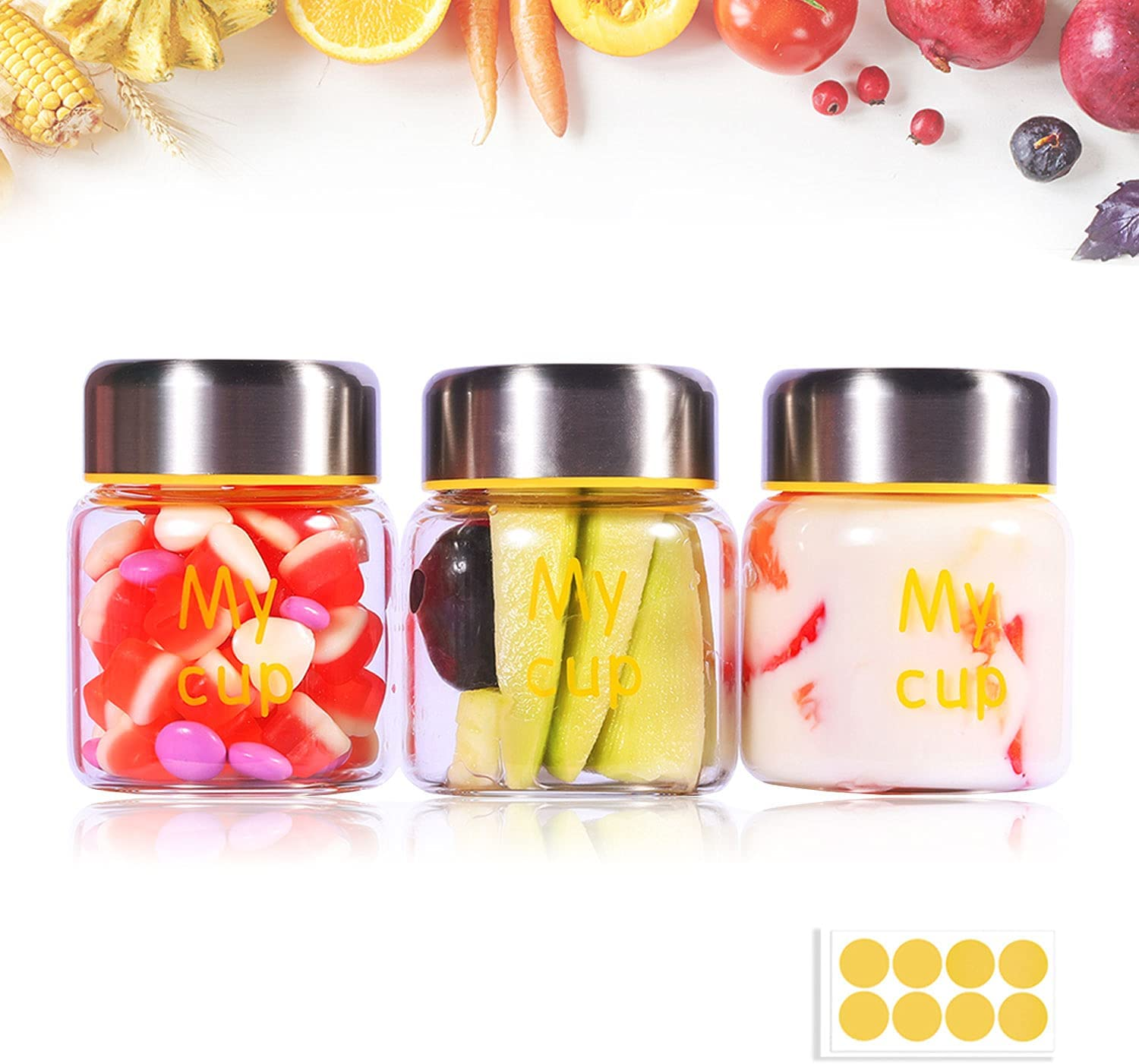 Kitchency 8oz Canning Jars Baby Food Storage Jars with lids Regular Mouth Storage Containers Spice Jars Ideal for Jam, Honey, Dessert Milk,Mousse,Candle Making