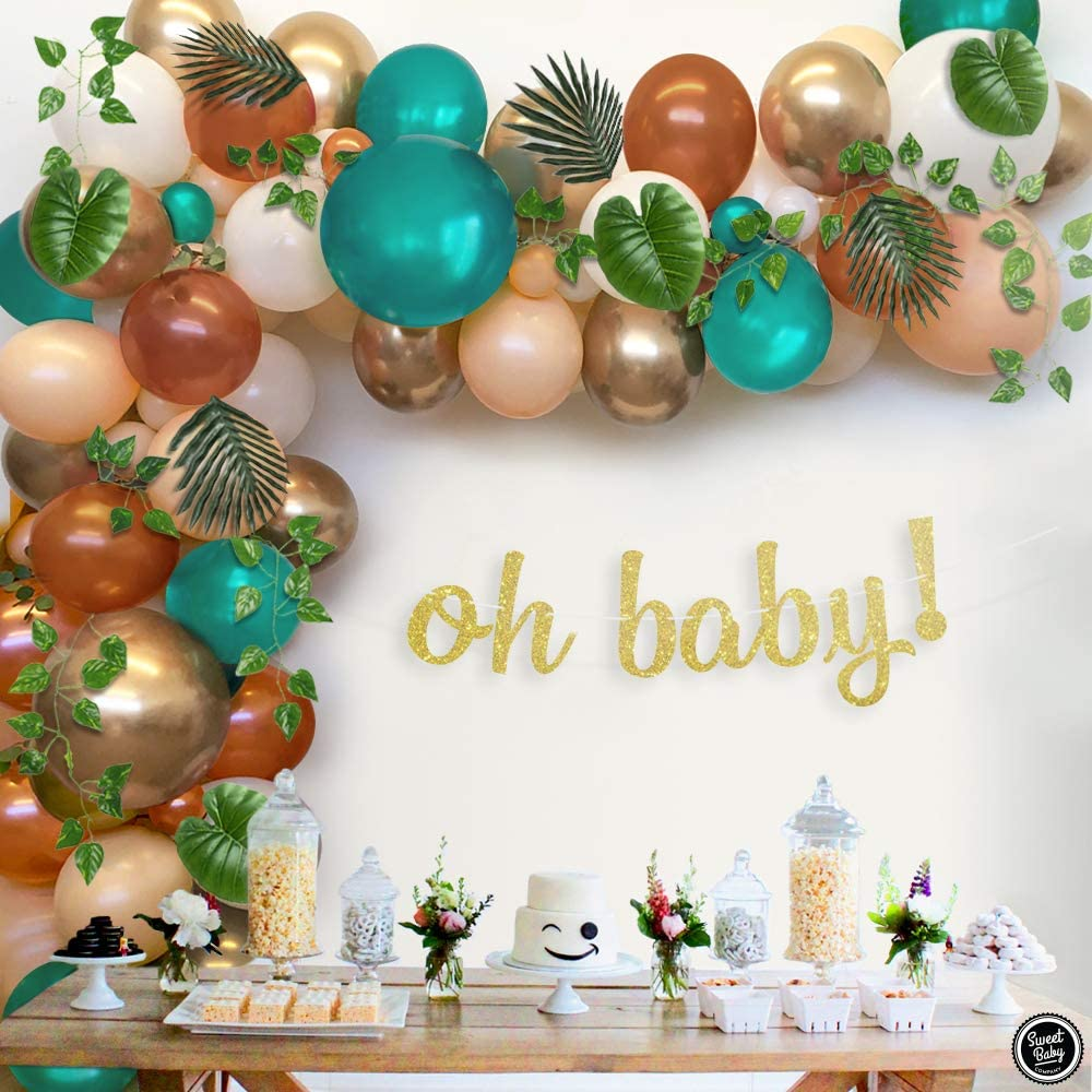 Sweet Baby Co. Woodland Baby Shower Decorations Greenery Garland Forest Animals Creatures Theme With Balloons Balloon Arch, Oh Baby Banner Sign, Leaf Vine, Neutral Party Supplies for Boy Girl Birthday Decor